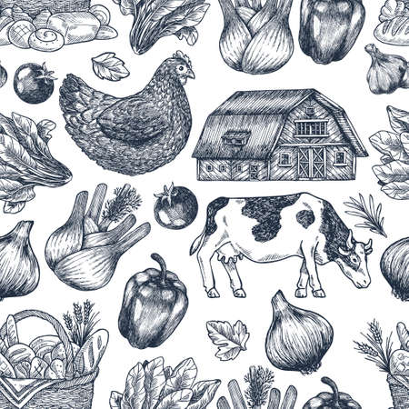 Summer rural seamless pattern. Fresh vegetables. Retro card. Farm vegetables and animals. Vector illustration Stock Illustratie