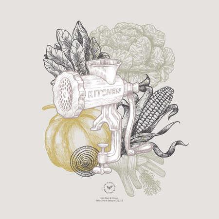 Farm organic design template. Fresh vegetables. Retro card. Farm vegetables. Vector illustration