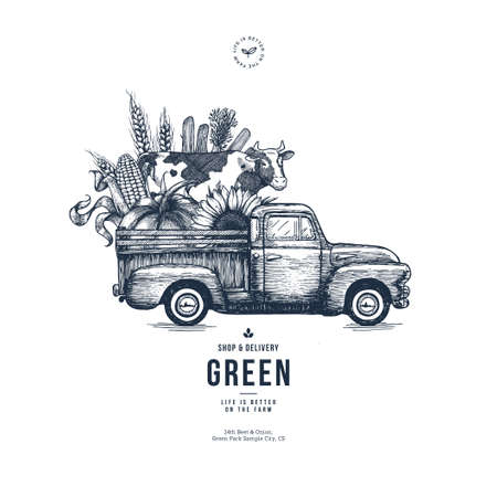 Farm fresh delivery design template. Classic vintage pickup truck with organic vegetables and a cow. Vector illustration
