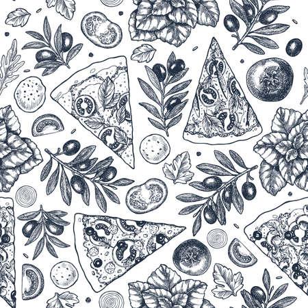 Fondo de ingredientes de pizza sabrosa. Gráfico lineal. Elementos de pizza italiana. Grabado de patrones sin fisuras. Ilustración vectorial