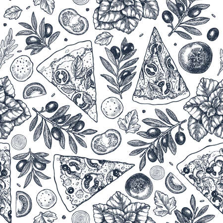 Tasty pizza ingredients background. Linear graphic. Italian pizza elements. Engraved seamless pattern. Vector illustration