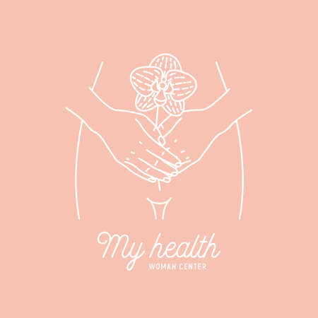 Woman health logotype. Intimate hygiene. Hands holding a flower. Vector illustration