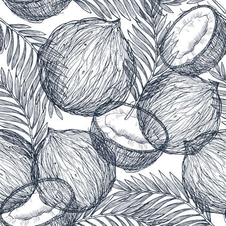 Trendy seamless pattern with coconut. Tropical coconut. Ornament illustration. Natural food. Print design vector illustration. Tropical fruit diet. Gold line art. Vector illustration