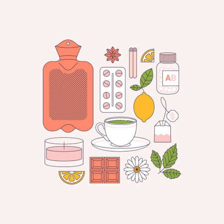 Rimedi per il ciclo della donna. Farmaci, borsa dell'acqua calda, tè verde, candela, cioccolato, limone, camomilla. Arte linea piatta. Illustrazione vettoriale Vettoriali