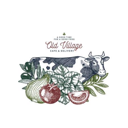 Farm fresh food design template. Cow, tomato, onion, basil, olive engraved vintage illustration. Farm product branding. Vector illustration Illustration