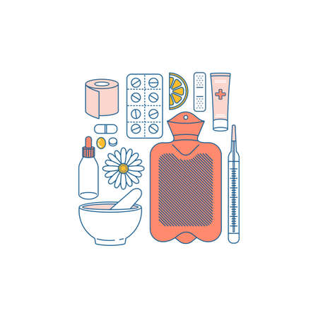 Woman period remedies. Medications, hot water bottle, green tea, candle, chocolate, lemon, camomle. Flat line art. Vector illustration