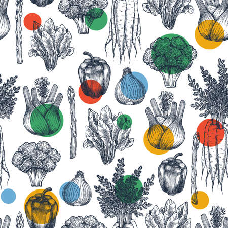 Fun vegetables seamless pattern. Broccoli, carrot, onion, pepper, spinach, asparagus, fennel engraved vintage illustration. Vector illustration