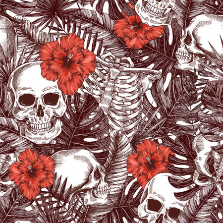 Halloween tropical vintage seamless pattern. Monochrome jungle skull background. Human skeleton 版權商用圖片