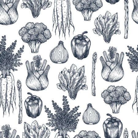Fresh vegetables seamless pattern. Broccoli, carrot, onion, pepper, spinach, asparagus, fennel engraved vintage illustration. Vector illustration