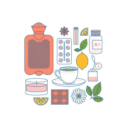 Woman period home remedies. Medications, hot water bottle, green tea, candle, chocolate, lemon, camomle. Flat line art. Vector illustration