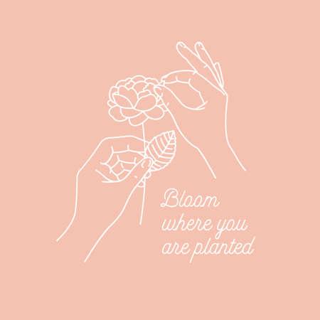 Woman hands holding a flower. Design print.