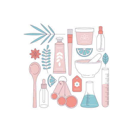Organic cosmetics set. Making organic natural product. Hand cream, face cream containers, laboratory glass equipment, ingredients. Çizim