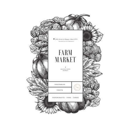 Healthy organic food vertical design template. Fresh vegetables engraved illustration. Stock Illustratie