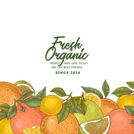 Fresh citrus design template. Engraved style illustration. Orange, lemon, tangerine, pomelo, grapefruit.