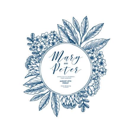 Floral wedding invitation. Vintage engraved flowers greeting card.