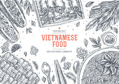 Vietnamese food. Linear graphic. Top view vintage illustration