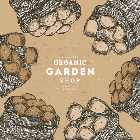 Potato engraved farm design template. Bag of potatoes.  イラスト・ベクター素材