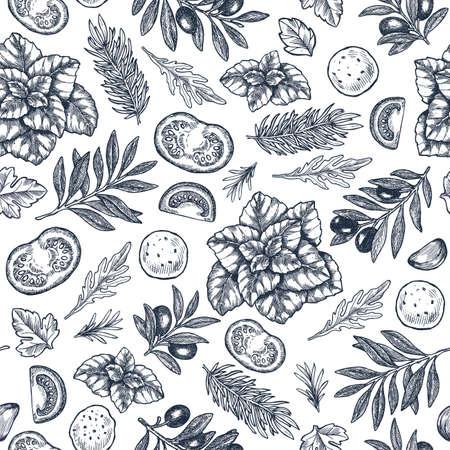 Tasty basil, mozarella, tomato, olive, garlic seamless pattern. Engraved frame illustration. Italian ingredients. Caprese ingredients. illustration