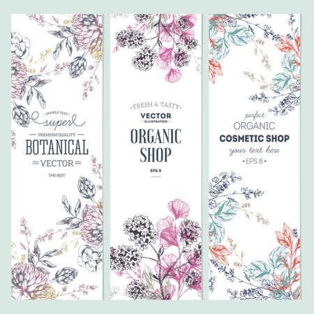 Floral banner collection. Organic shop. Archivio Fotografico - 122403711