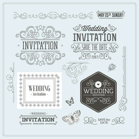 Kit de diseño de invitación de boda vintage. Elementos, adornos, insignias. Foto de archivo