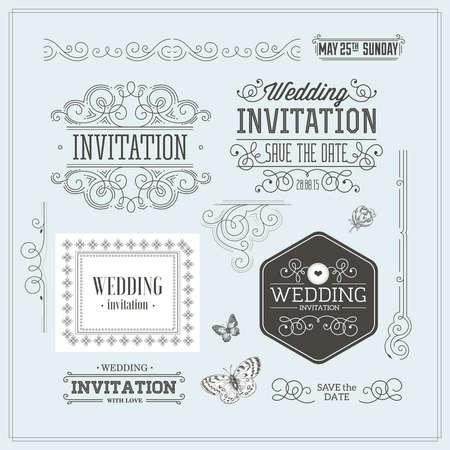 Kit di design per inviti di nozze vintage. Elementi, ornamenti, distintivi. Archivio Fotografico