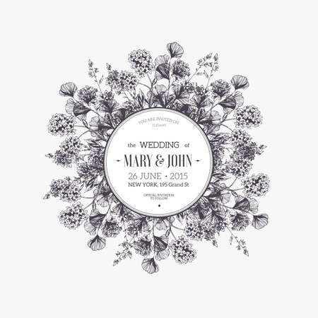 Round flower composition. Wedding invitation.