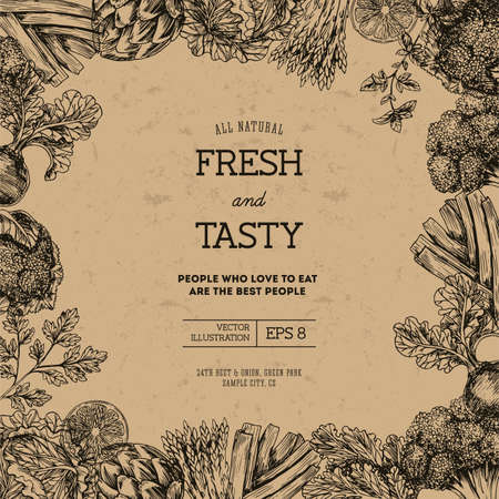 Organic food design template. Fresh vegetables.