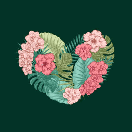 Exotic flowers and leaves heart shape. Tropical style. Valentines card.  illustration Reklamní fotografie
