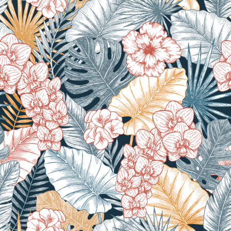 Exotic wild flowers and leaves seamless pattern. Elegant wallpaper. Tropical style. Vector illustration Illustration