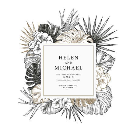 Elegant gold wedding invitation with exotic flowers and leaves. Card design template. Vector illustration Illustration
