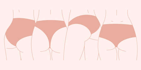 Different body and lingerie type. Feminine illustration. Vector illustration Illustration