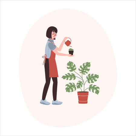 A woman with the watering can and monstera plant in a pot. Flat vector illustration Ilustracja