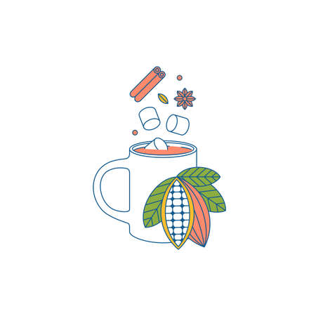 Cacao mug with spice and marshmallows. Flat graphic. Cafe design template. Vector illustration