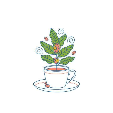 Cup with coffee plant inside. Flat graphic. Cafe design template. Vector illustration Illustration