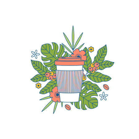 Coffee cup with exotic plants and leaves. Take away. Flat graphic. Vector illustration
