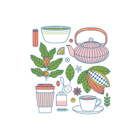 Coffee and tea collection. Cocoa, coffee, matcha, elements. Flat graphic. Vector illustration