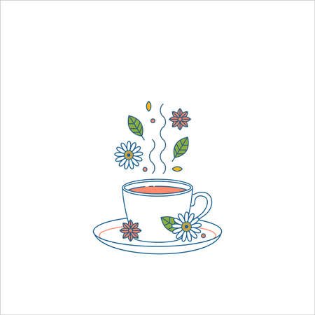 Cup of tea with leaves, camomile, and spice. Flat line. Vector illustration Illustration