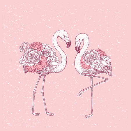 Pink flamingo with rose and peony flowers. Beautiful design print. Vector illustration