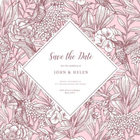 Elegant vintage floral wedding invitation with birds and peony flowers. Vector illustration