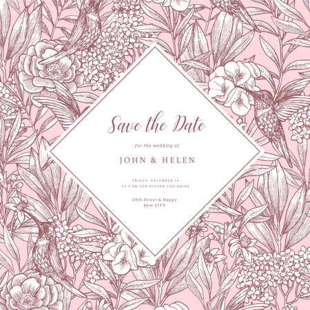 Elegant vintage floral wedding invitation with birds and peony flowers. Vector illustration