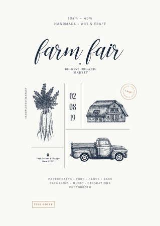 Farm fair poster vintage design template. Handsketched vintage carrot, farm house, car. Line art illustration. Vector illustration