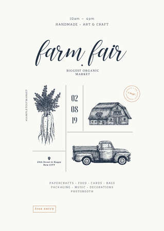 Farm fair poster vintage design template. Handsketched vintage carrot, farm house, car. Line art illustration. Vector illustration