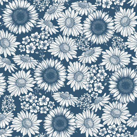 Spring flower seamless pattern. Floral background. Sunflower  daisy. Vector illustration Ilustração