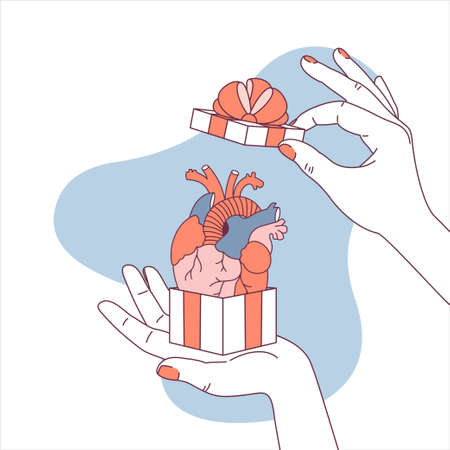 Woman hand holding a gift box with anatomical heart. Surprise illustration. Like symbol. illustration
