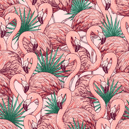 Pink flamingo tropical seamless pattern. Beautiful background. Vector illustration Ilustração