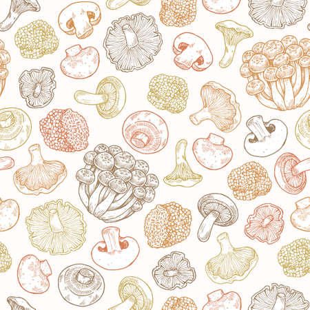 Various mushroom colored seamless pattern. Vintage style. Vector illustration Ilustração