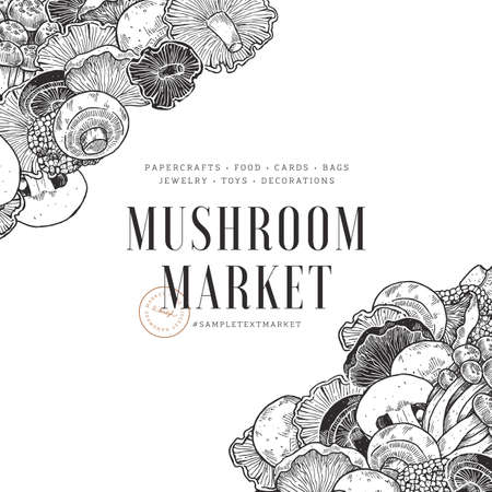 Various mushroom design template. Vintage style. Vector illustration