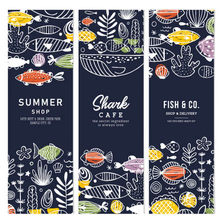 Sealife fun vertical banner collection. Linear graphic. Kid design. Scandinavian style. Vector illustration