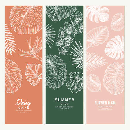 Exotic flowers and leaves vertical banner collection. Botanical vintage illustration. Vector illustration Ilustração