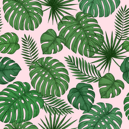 Pink tropical leaves seamless pattern. Jungle background. Vector illustration Ilustração